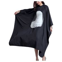 1x Hair Cutting Cape Hairdresser Barber Gown Stylist Apron Phone View Window Black unisex adult black blue hairdressing cape hair cutting cape gown haircut clothes with play phone view window salon apron