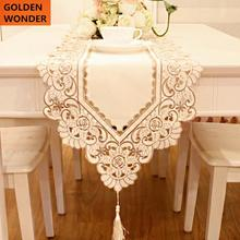 Elegant Table Runner Flag Flowers Openwork Embroidery Fabric Cloth Long Mat Embroidered