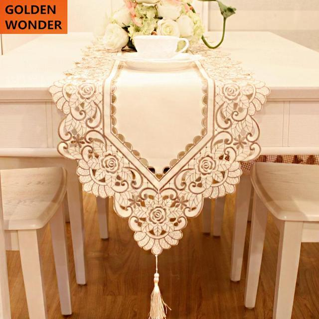 Bon Elegant Table Runner Table Flag Flowers Openwork Embroidery Fabric Cloth  Long Mat Table Runner Embroidered