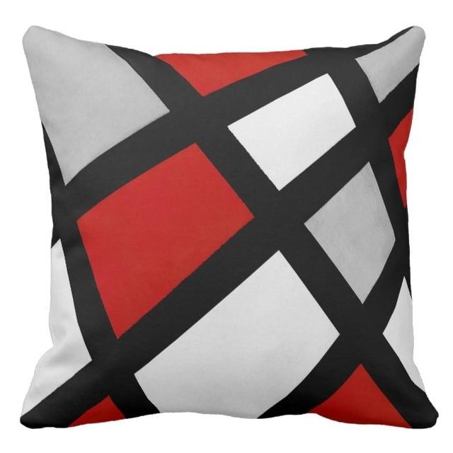 g om trique housse de coussin rouge noir gris taie d 39 oreiller d coratif canap oreiller. Black Bedroom Furniture Sets. Home Design Ideas