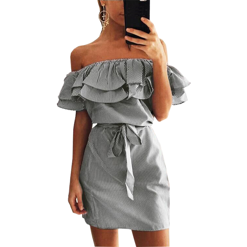 Women summer dress 2018 new fashion stripe slash collar Petal sleeve sashes dropshipping mini dress vestidos de festa RL6806
