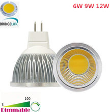 Bombillas 6W 9W 12W LED COB Spotlight Dimmable MR16 AC DC 12V LED Spot Down Light Lamp Bulbs Lampada Ampoule Candle Luz(China)