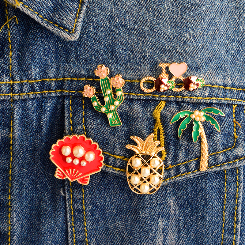 5PCS/SET Cactus Palm tree Pineapple Mussel Imitation pearl Decoration Pins Brooches Badges Hard enamel lapel pin Brooch