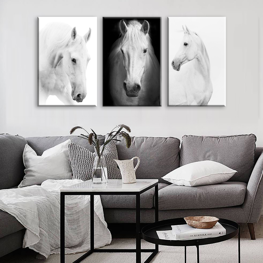 White Horse Wall Art Canvas Prints Modern Art Home Decor