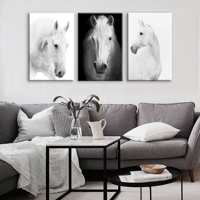 White Horse Wall Art Canvas Prints Modern Art Home Decor For Living Room Bedroom Pictures - : horse wall art - www.pureclipart.com