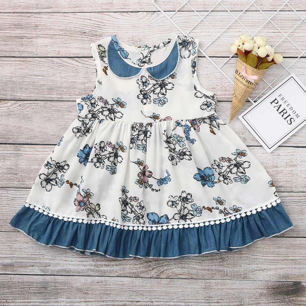 Girls Dress Kids Dresses For Girls vestido Toddler Baby Girls Sleeveless Floral Print Vest Dress Lace Dresses Clothes
