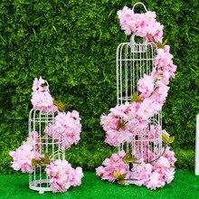 Сакура вишня лоза Свадебные цветы украшения из ротанга шелковые цветы для дома вечерние Декор Шелковый Плющ Настенный Цветок висящий венок гирлянда