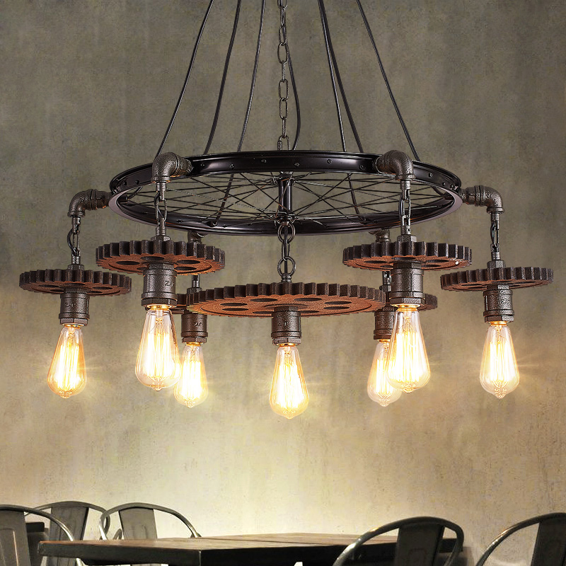 Gear 1/3/5/7 heads pendant lamps theme restaurant cafe bar personality industrial wind Iron Retro industry Loft lights ZAG loft style iron pendant lamp creative industry restaurant bar cafe personality studio gear 2 head pendant lights