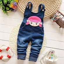 Winter Fleece Rompers Little Girls Imitation Denim Cute Girl Overalls Jeans Toddler Babe Kids Winter Warm Clothes Pants