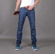 Регулярные брендов известных джинсовые прямой китай классический fit до джинсы синий