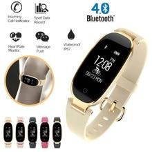 Bluetooth su geçirmez akıllı saat kadın moda bayanlar nabız monitörü spor izci Smartwatch Mujer Android IOS için