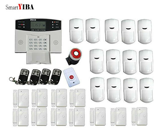 SmartYIBA Auto Dialing Dialer SMS Call Remote Control Home Burglar Alarm System SIM GSM Alarma With Motion/Panic/Door Alarm Kits