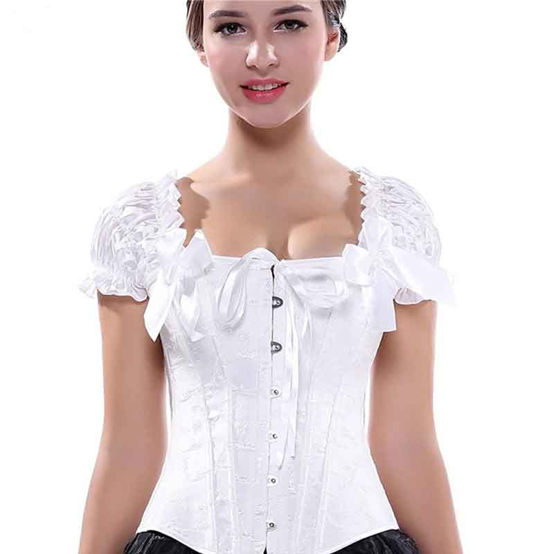 White Women Jacquard Lingerie Basque Corselet   Bustier   Sexy Floral Lace Top   Corset   Steampunk Night Clubwear Plus Size 5XL 6XL