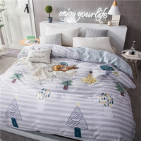 Stylish Cartoon Tree Pattern 100% Cotton Soft Bedding 1Pcs Duvet Cover Duvet Covers 220x240cm King 4 Size Bedspread Quilt Cover