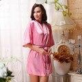 Batas para mujer durazno rosa alas del ángel caliente de diamante de seda suave túnica / vestido del sueño / albornoz Kimono japonés camisón Sexy traje de seda
