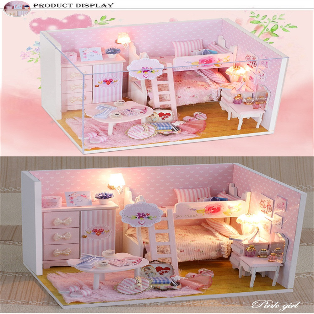 Christmas Gift 2018 New Cute Cartoon Diy Dollhouse Miniature 3d House Furniture Led House Puzzle Decorate Creative Refreshment
