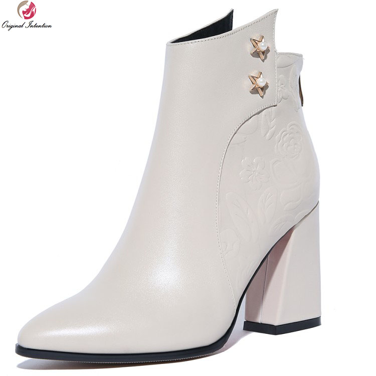 Original Intention Elegant Women Ankle Boots Cow Leather Pointed Toe Square Heels Boots Black Beige Shoes Woman US Size 4-10.5 стоимость