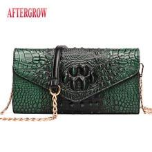 Emboss Alligator Female Shoulder Bag Clutch bolsa croco canta Crocodile Women Envelope Bag Quality Leather Ladies Messenger Bag