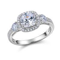 Newshe 1.5 Ct Radiant Cut AAA CZ 925 Sterling Silver Wedding Ring Tre Pietre Monili di Disegno di Modo Per Le Donne