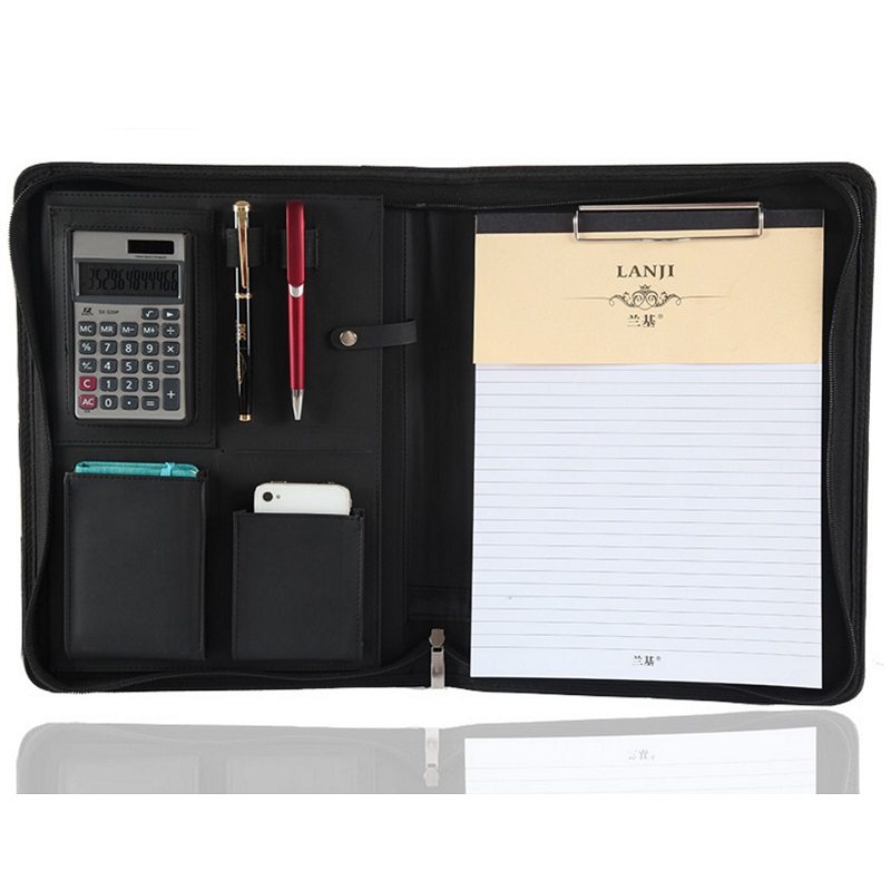 A4 Zipper File Folder Portfilio with Calculator Spring Binder Manager Document Bag Brief Case Harphia