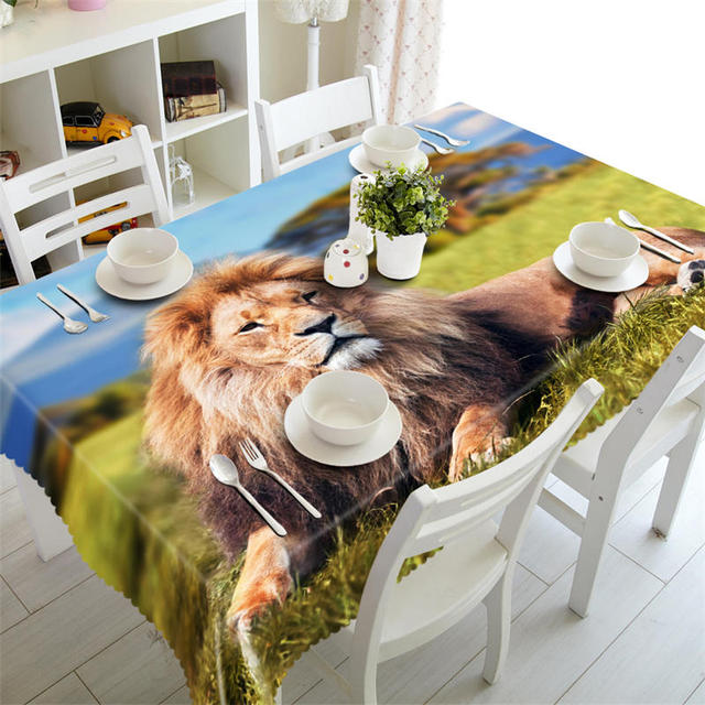 Round Plastic Outdoor Tablecloth Waterproof Coffee Table Cloth Rectangular Wedding Table Cover Customized Size Lion Pillowcase In Tablecloths From