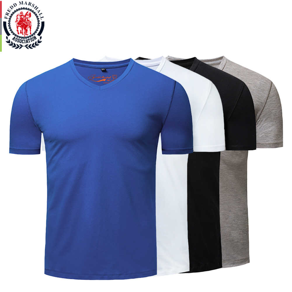 Fredd Marshall Men 100% Cotton V-Neck Casual Basic T-Shirt Men Short Sleeve Breathable Tee Classic T Shirt Tops Plus Size M-3XL