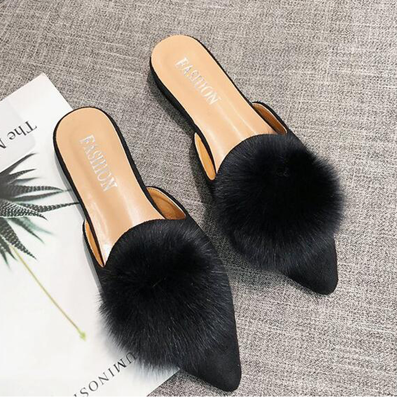 COOLSA New Women's Flock Plush Ball Slippers Women Casual Flat Mule Slippers Quality Faux Fur Lazy Slides Large Size Wholesale