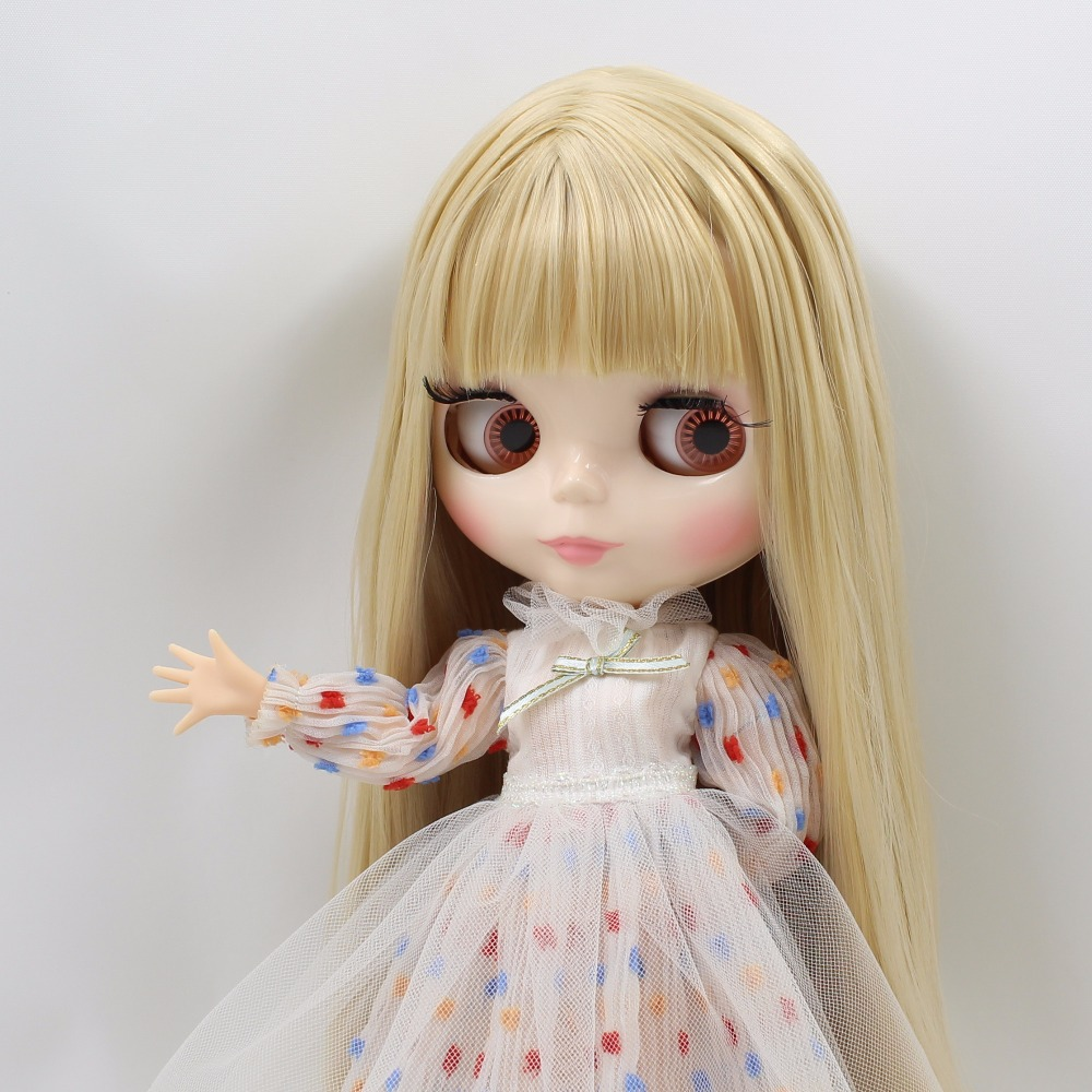 free shipping factory blyth doll white skin joint body straight blonde hair with without bangs BL538