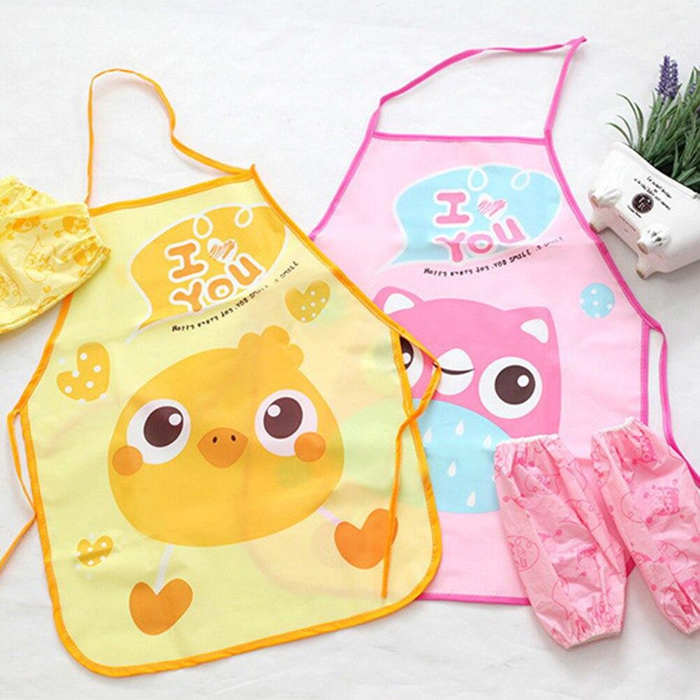 Cute Fashion Cartoon Children Apron Sleeves Chef Hat Pocket Set Kids Craft Art Kitchen Cooking Chef Suit Drink Food Baking Toys