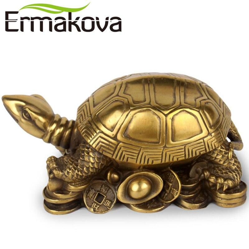 """ERMAKOVA 13CM (5.1 """") antyczny mosiądz Mini żółw figurka żółw statua Feng Shui rzeźby zwierząt biuro w domu ozdoby wystrój w Figurki i miniatury od Dom i ogród na  Grupa 1"""