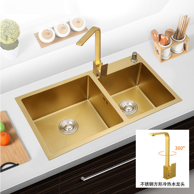 304Stainless Steel Kitchen Sinks Gold Hand-thickened 4mm Double Bowl with tap Above Counter Nano & 304Stainless Steel Kitchen Sinks Gold Hand thickened 4mm Double Bowl ...