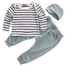 Одежда Топы корректирующие Футболки для женщин футболка с длинными рукавами и штаны леггинсы+ шляпа повседневная одежда 3 шт. комплект для новорожденных для маленьких мальчиков Комплекты для девочек
