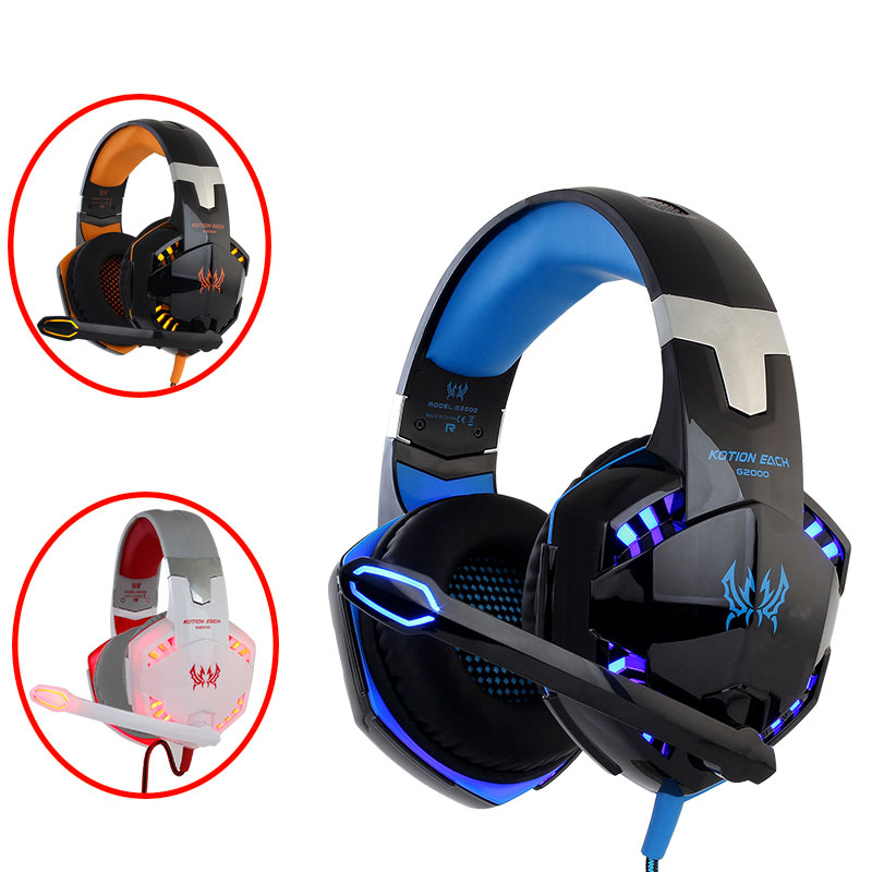 KOTION EACH G2000 G9000 G4000 stereo  gaming headset  big pc for computer with microphone LED Light  Deep Bass gamer  headphonesKOTION EACH G2000 G9000 G4000 stereo  gaming headset  big pc for computer with microphone LED Light  Deep Bass gamer  headphones
