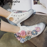 2017 New Flowers Cut Out Dirty Casual Shoes For Women Canvas Shoes High Top Beathable Summer