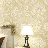 Modern 2016 New Vintage European Damask Wallpaper Roll Design Flocking Textured Luxury Wall Paper For Background