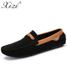 6b004dfe0d Xizi Homens Sapatos Casuais Respirável Pele de Porco Camurça Sapatos de Couro  Mocassins Condução Deslizamento em