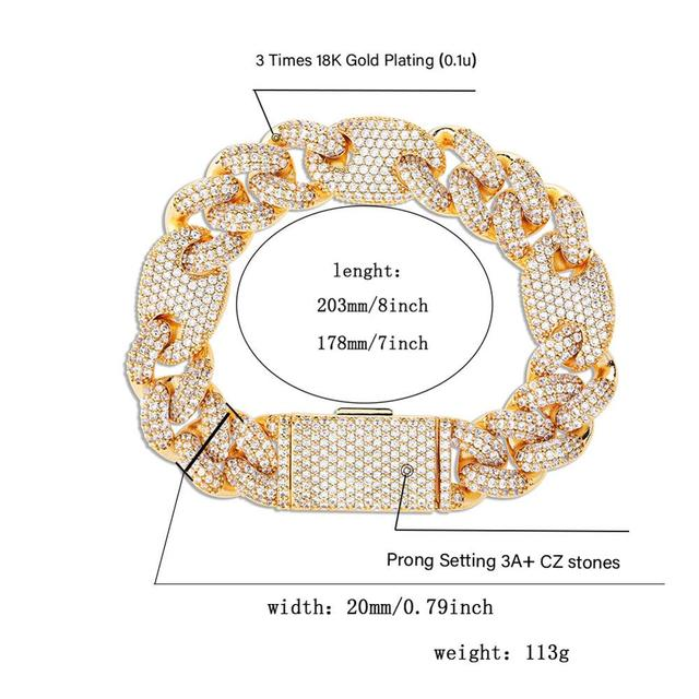 JINAO NEW 20mm Miami Lock Clasp Cuban Link 7-9 Inch  Bracelet Iced Out AAA Cubic Zircon Bling Hip hop Men Jewelry Gift