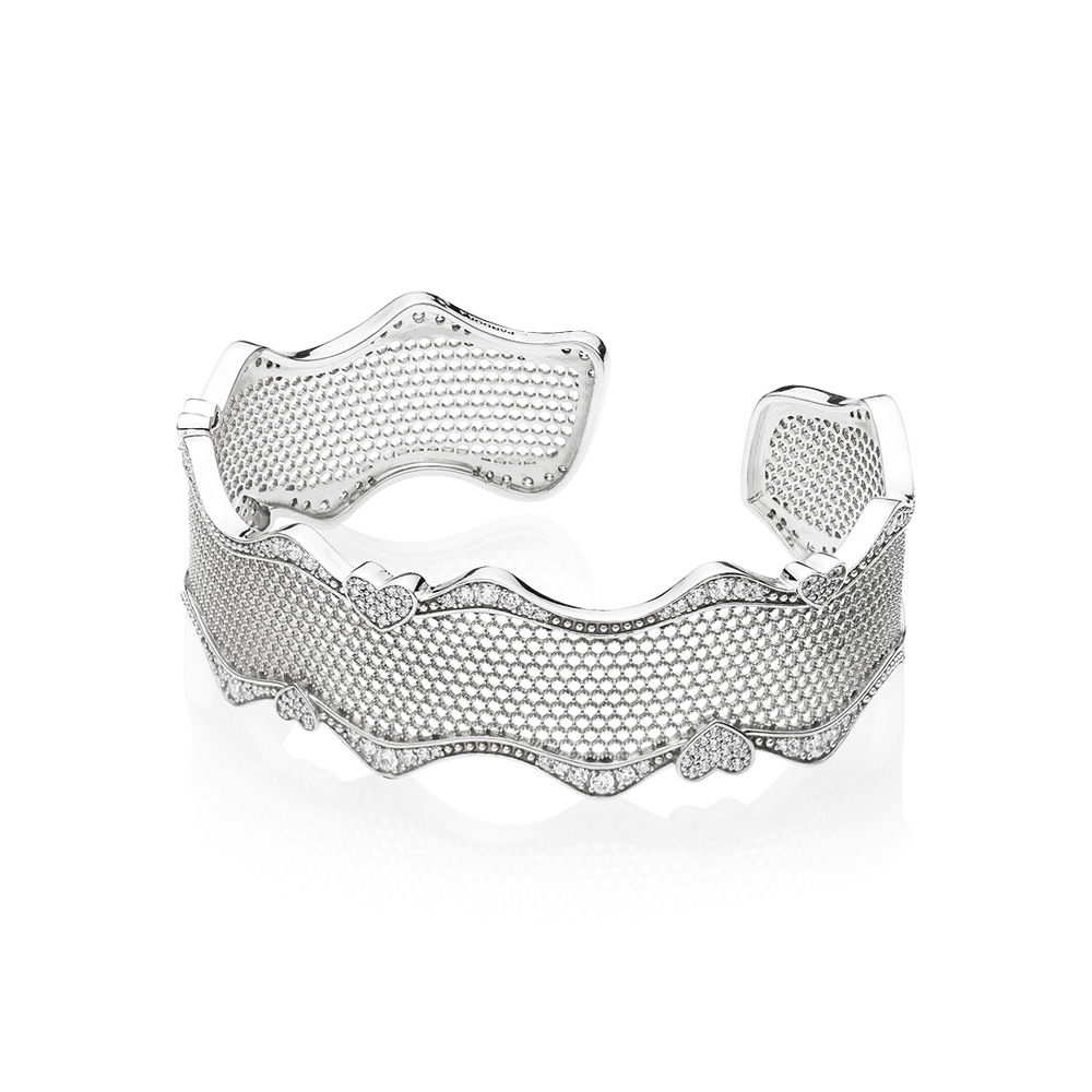 Authentic 925 Sterling Silver Original Moments Lace of Love Europe Bracelet Cuff Fit Women Bead Charm