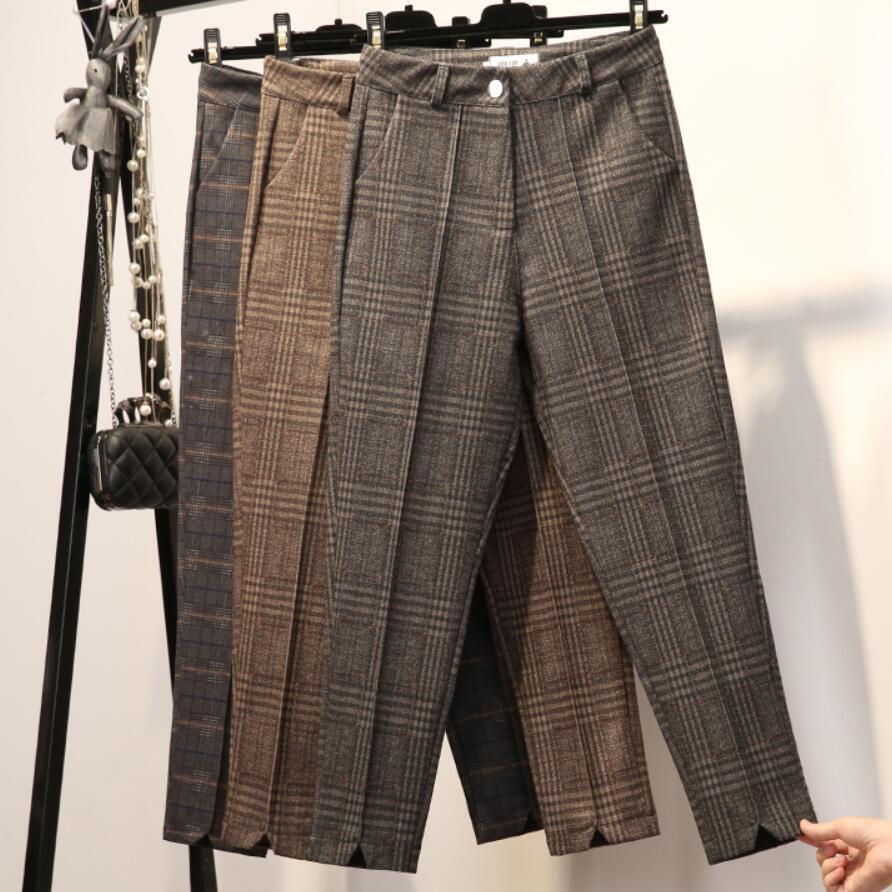 winter women lattice casual harem pants ankle length fashion woolen trousers high waist casual Radish pants plus size Pants & Capris     - title=