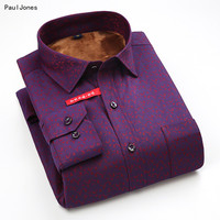PaulJones Autumn New Long Sleeve Velvet Printed Men Winter Shirts Fashion Men's Business Shirts 4XL Male China Imported Clothing