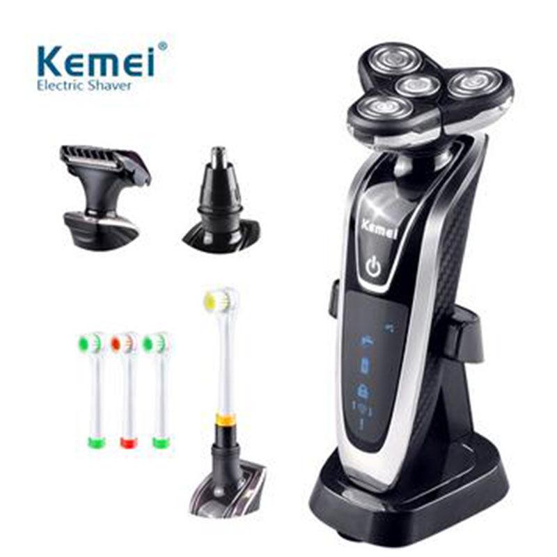 4 in 1 Men Electric Shaver Beard Razors Waterproof Barbeador Rechargeable Shaver Nose Trimmer Hair Clipper Men Face Care #KM5181 недорого