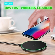 YHONH 10W Fast Wireless Charger Thin Round Alloy Pad Compatible with Xs XR Max iXR X 8 8P Galaxy S9 S8 S7 Note 9 8 all QI Phone cheap Metal With Charging Indicator With LED Light Used With Phone Micro Usb Desktop Pad Plastic