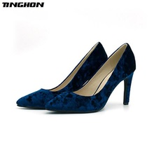 TINGHON Sexy Pumps Women Shoes Blue Flock Slip-On Shallow Wedding Party Thin Heels Pointed Toe Woman High Heels Pump blue with gold wedding pumps peep toe high heels slip on stilettos party shoes 2016 new women pumps sweet bridal pump shoes