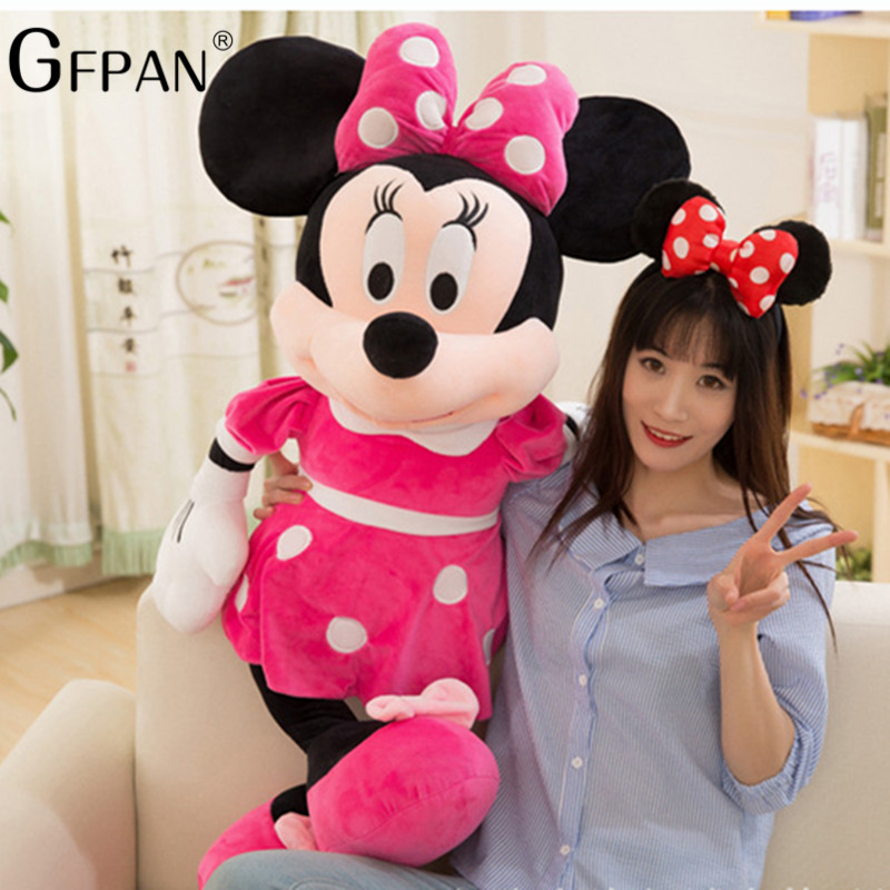 1PC 60/100CM High Quality Hot Doll New Style Mickey Minnie Mouse Stuffed Animals Plush Toys For Children Magic Gift For Baby