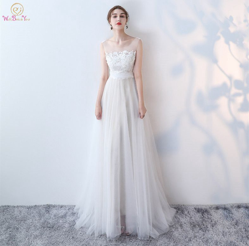 2019 White Evening Dress A Line Soft Tulle Lace Top Elegant Princess Dress Simple New Spring Prom Party Gown Hot Sale Style