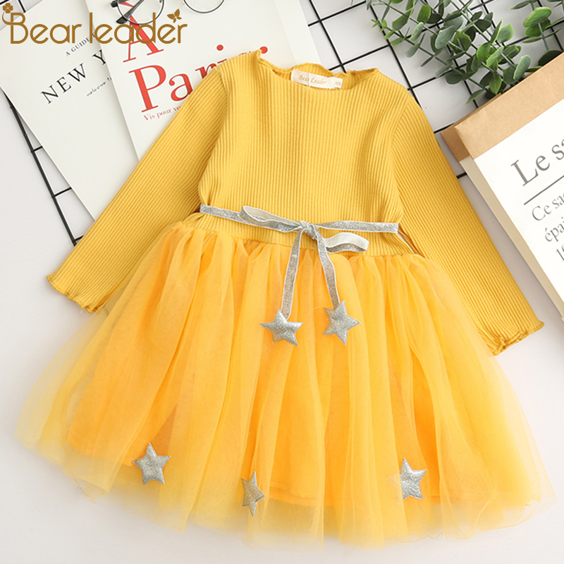 Bear Leader Girls Dress 2018 Spring Casual Style Baby Girl Clothes Long Sleeve Pentagram Sashes for Kids Clothes Princess Dress humor bear baby girl clothes new spring and autumn long sleeve t shirt pink princess dress kids clothes girls clothing