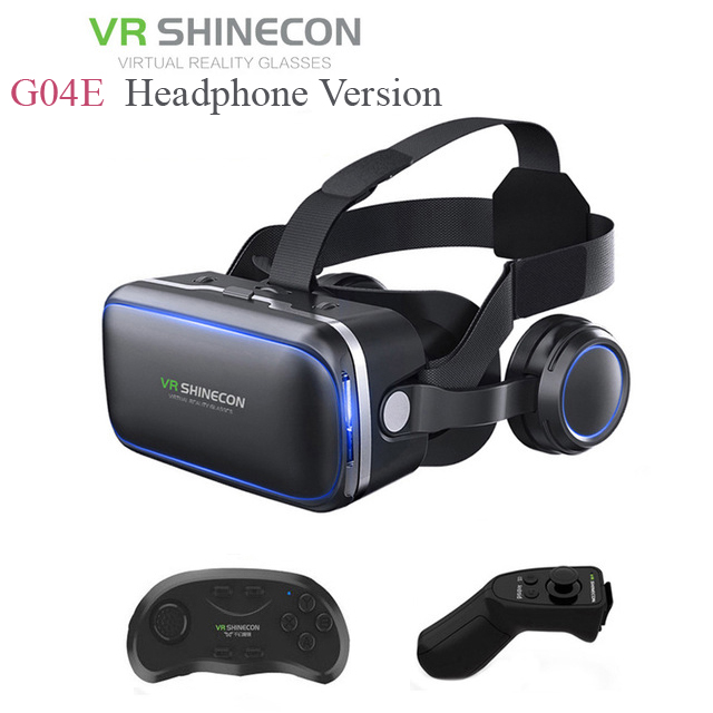 Shinecon 6.0 G04E VR Headphone Version Google Cardboard 3D Virtual Reality Glasses Headset Helmet Head Mount For 4-6' Phone