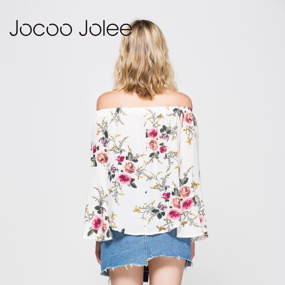 Jocoo Jolee ženske v bluzi na rame Seksi polni rokavi z metulji - Ženska oblačila - Fotografija 6