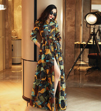 Autumn colors printed shirt type single breasted women slim long sleeved long dress code