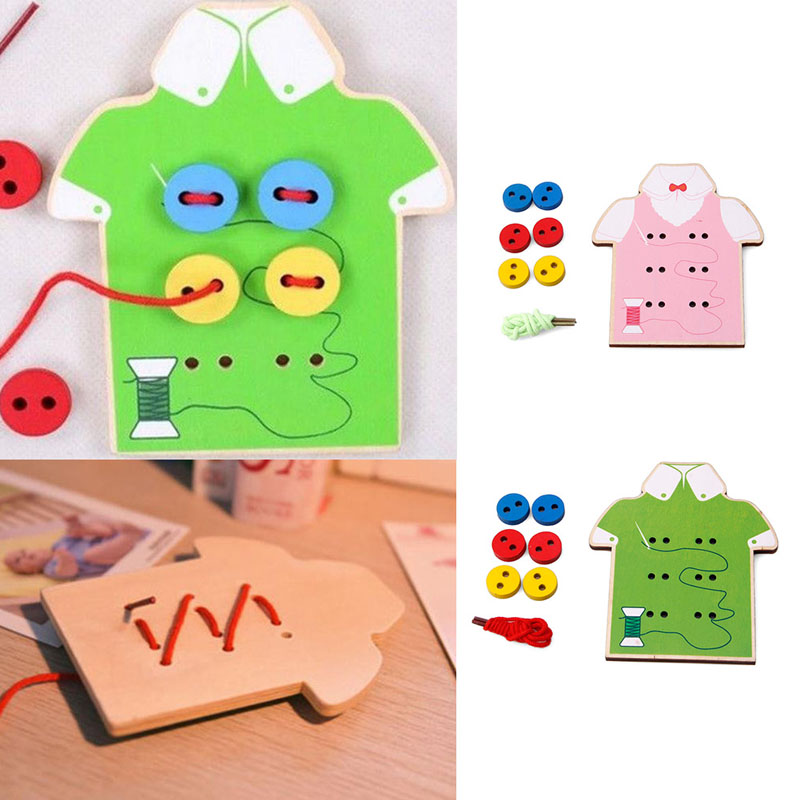 Early Education Teaching Aids Beads Lacing Board Wooden Toys Sew On Buttons Gift